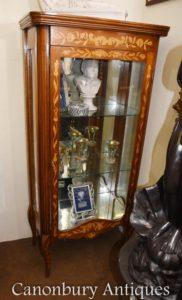 Holländische Intarsien-Glas-Display-Schrank-Einlage-Bijouterie