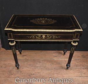 Antike Französisch Reich Ebony Card Spiele Tisch Boulle Inlay