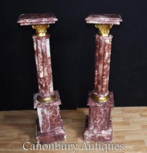 Klicken Sie hier, um dieses Französisch Empire Marble Sockel Stand Tables-Spalten zu Canonbury Antiques zu kaufen