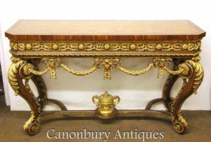 Louis XVI Gilt Walnuss Konsolentisch Hand geschnitzt