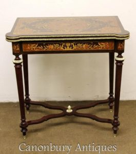 Louis XVI Intarsien Inlay Chess Games Table Side Console Tables