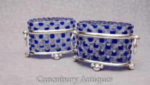 Paar Viktorianische Schnitt Glas Silber Platte Trinket Boxen Schmuck Schatulle