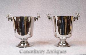 Paar Viktorianische Silber Teller Hirsch Wein Kühler Champagner Eimer Urnen