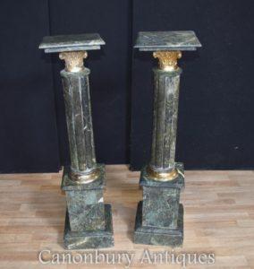 Paar grüne Marmor Empire Sockel Ständer Französisch Spalten Tische