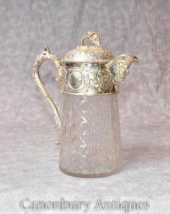 Viktorianische Silber Plate Tankard Krug Cut Glas Männlich Groteske