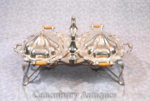 Viktorianische Silber Platte Essen Warmer Verkauf Pfeffer Gewürz Serving Set