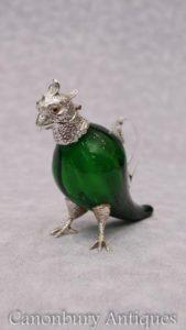Viktorianische Silber Platte Papagei Glas Getränke Spender Dekanter