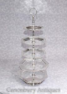 Viktorianische Silberplatte 5 Tier Kuchen Stand Platten