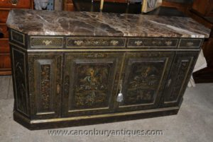 Antique French Black Lack Kommode Sideboard Kommode mit Chinoiserie