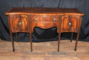 Antique Sheraton Sideboard Server Buffet Flamme Mahagoni 1920er Jahre