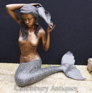 Große Bronze Meerjungfrau Statue Conch Garten Wasser Feature Architektonisch