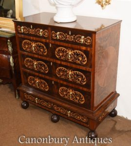 Mahagoni Queen Anne Chest Schubladen Kommode Intarsien Inlay