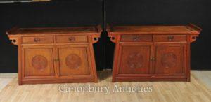 Paar Antike chinesische Mahagoni Sideboards Konsolentische Schrank