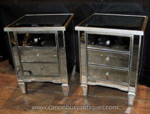 Paar Art Deco verspiegelte Nachttische Schubladen Tische Nachttische