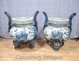 Paar Chinesisch Blau und Weiß Nanking Porzellan Pflanzer Räucherstäbchen Tempel Brenner Töpfe