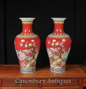 Paar Chinesische Jiaqing Porzellan Vögel Vasen Imperial Red