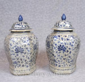 Paar Chinesische Nanking Porzellan Ingwer Tempel Urnen Gläser Vasen