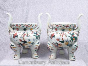 Paar Chinesische Qianlong Porzellan Tempel Jar Pflanzer Räucherstäbchen
