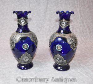 Paar Cobalt Loetz Glas Österreichische Vasen Urnen mit Silberplattenhalter