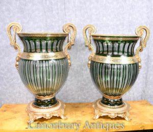 Paar Französisches Reich Schneide Glas Urnen Vasen Pflanzer Ormolu
