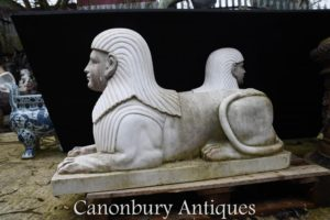 Paar Große Stein Sphinx Ägyptische Sphinx Garten Statue