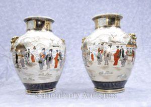 Paar Japanische Satsuma Porzellan Vasen Urnen Handgemalte