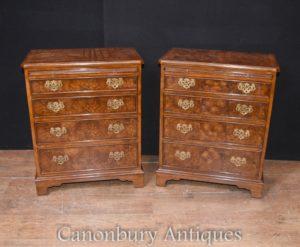 Paar Viktorianische Walnuss Batchelors Truhen Brustschubladen Nachttische