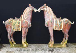 Paar große chinesische Porzellan Tang Pferde Pony Keramik China Pferd