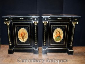Pair Antique French Ebonized Schränke Painted Plaques Credenza Sideboard
