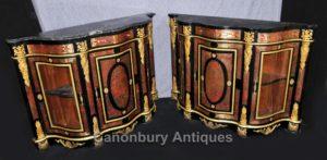 Pair Boulle Inlay Schränke Sideboards Französisch Louis XVI Credenza