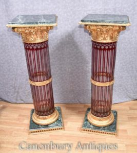 Pair Cut Glas Französisch Sockel Stand Tables Empire Korinthischen Säulen