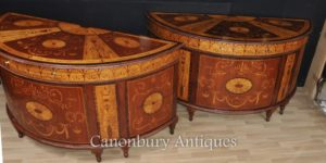 Pair Regency Intarsien Commodities Demi Lune Schränke Intarsien Inlay