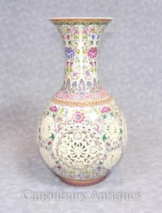 Single Chinesische Famille Rose Porzellan Rose Vase Retikuliert