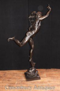 XL Italienische Bronze Quecksilber Statue Casting Hermes von Giambologna
