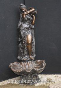 XL Italienische Bronze Weibliche Maiden Brunnen Conch Urn Garten Wasser Feature