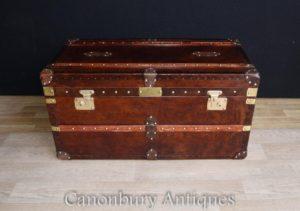 Deutsch Steamer Trunk Leder Gepäck Box Case Couchtisch