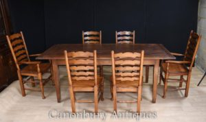 Eiche Refektorium Tabelle Set 6 Ladderback Stühle Farmhouse Dining Set