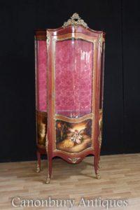 Louis XVI Kingwood Vitrine Gemalt Vernis Martin Plaketten