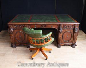 Mahagoni Chippendale Nostell Priorat Schreibtisch und Stuhl Set