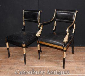 Paar Regency Lack Stühle Sessel Stuhl