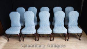 Set 10 viktorianische gepolsterte Esszimmerstühle Sitze