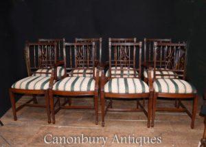 Set 8 Regency Mahagoni Esszimmerstühle Diners