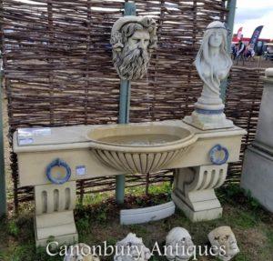 Englisch Stein Wasser Trog Wandbrunnen Neptunes Kopf