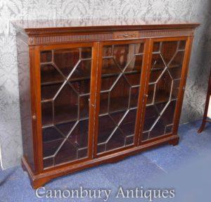 Mahagoni Glasiertes Hepplewhite Cabinet Bücherregal Circa 1890