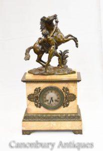Antikes französisches Reich Bronze Marmor Mantel Uhr Pferd