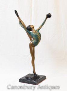 Art Deco Bronze Ball Tänzer Figur Statue