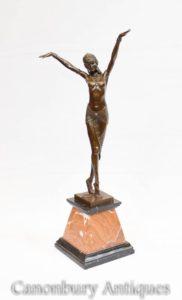 Art Deco Bronze Chiparus Statue unterzeichnete ägyptische Tänzerin Figur