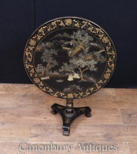 Chinese Black Lacquer Beistelltisch Chinoiserie