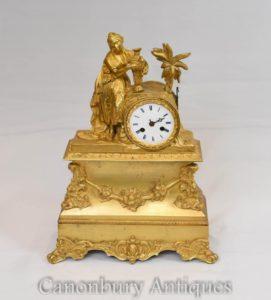 Französisches Reich vergoldete Mantel Uhr Ormolu Maiden