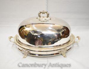 Georgian Silver Plate Servierplatte Dome Platter Fleischbedeckung